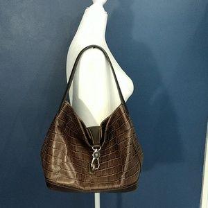 Dooney & Bourke Brown Croco Embossed Leather Hobo